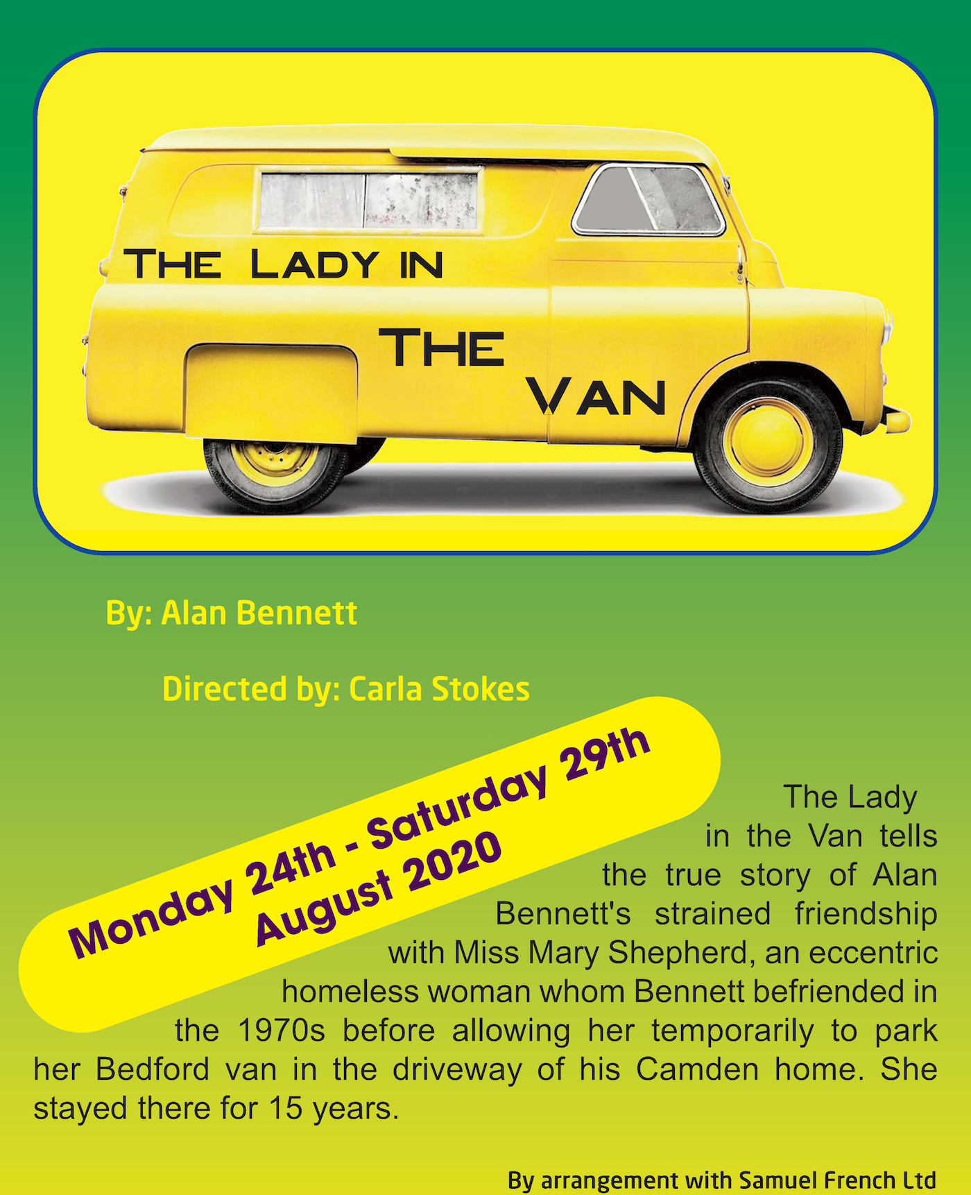 The Lady In The Van - Monday 23rd to Saturday 28th August 2020 at 7:30pm