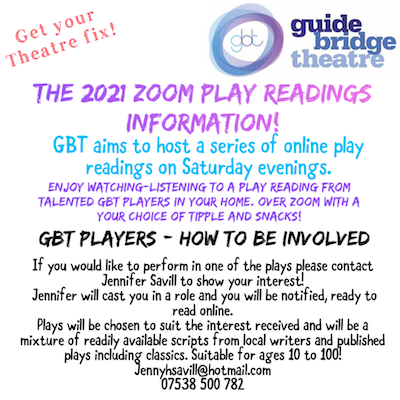 2021 Zoom Play Readings - Saturday evenings as announced